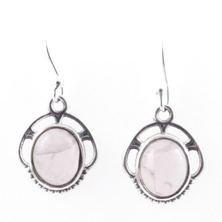 58011-01 STERLING SILVER 17 X 14 MM FISH HOOK EARRINGS WITH ROSE QUARTZ