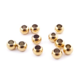 37453 PACK OF 100 GOLD COLOURED STAINLESS STEEL 4 MM BEADS WITH 1.5 MM HOLE