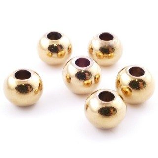 37455 PACK OF 100 GOLD COLOURED STAINLESS STEEL 8 MM BEADS WITH 3 MM HOLE