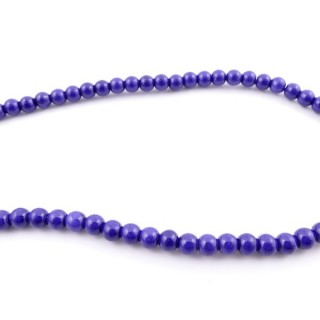 42675-09 40 CM STRING OF 6 MM DYED TURQUOISE BEADS