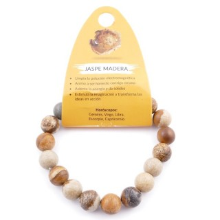 37637-36 ELASTIC 10 MM NATURAL STONE BRACELET IN WOOD JASPER