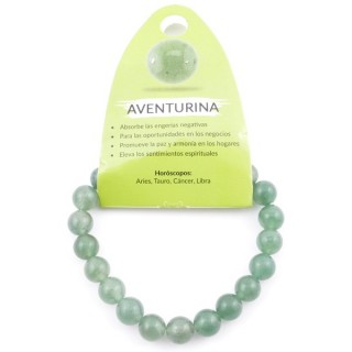37625-12 ELASTIC NATURAL STONE 8 MM BRACELET: GREEN AVENTURINE