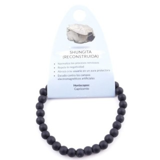 37615-33 ELASTIC 6 MM NATURAL STONE RECONSTRUCTED SHUNGITE BRACELET