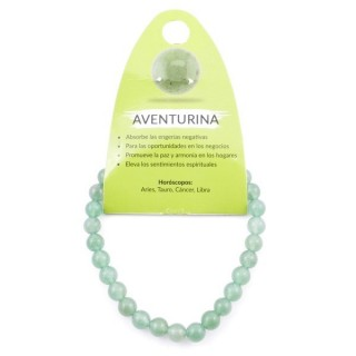 37616-12 ELASTIC 6 MM NATURAL STONE GREEN AVENTURINE BRACELET