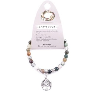 38041-35 ELASTIC 6 MM INDIAN AGATE BRACELET WITH TREE OF LIFE CHARM