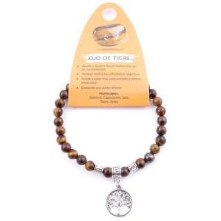 38041-09 ELASTIC 6 MM TIGER'S EYE BRACELET WITH TREE OF LIFE CHARM