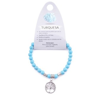 38041-03 ELASTIC 6 MM TURQUOISE BRACELET WITH TREE OF LIFE CHARM