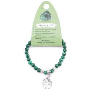 38041-06 ELASTIC 6 MM SYNTHETIC MALACHITE BRACELET WITH TREE OF LIFE CHARM