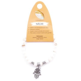 38042-59 ELASTIC 6 MM MOTHER OF PEARL BRACELET WITH HAMSA CHARM