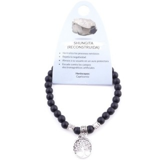 38041-33 ELASTIC 6 MM RECONSTRUCTED SHUNGITE BRACELET WITH TREE OF LIFE CHARM