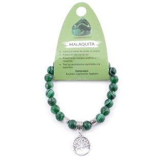 38011-06 ELASTIC 8 MM SYNTHETIC MALACHITE BRACELET WITH TREE OF LIFE CHARM