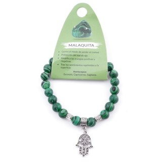 38012-06 ELASTIC 8 MM SYNTHETIC MALACHITE BRACELET WITH HAMSA CHARM