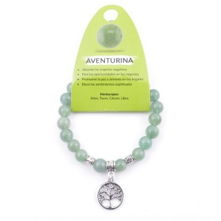 38013-12 ELASTIC 8 MM AVENTURINE BRACELET WITH TREE OF LIFE CHARM