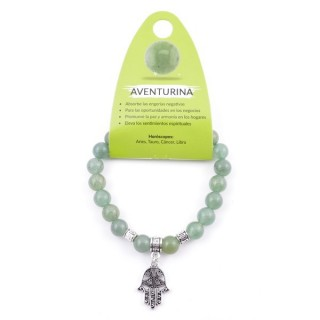 38014-12 ELASTIC 8 MM GREEN AVENTURINE BRACELET WITH HAMSA CHARM
