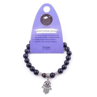 38014-11 ELASTIC 8 MM BLUE SANDSTONE BRACELET WITH HAMSA CHARM