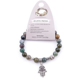 38012-35 ELASTIC 8 MM INDIAN AGATE BRACELET WITH HAMSA CHARM