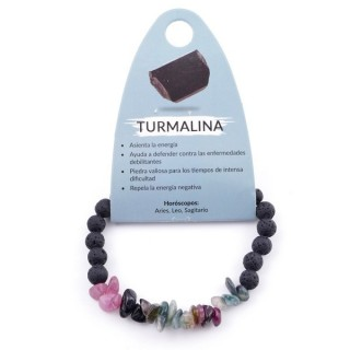 36305-01 ELASTIC TOURMALINE CHIP BRACELET WITH 6 MM LAVA