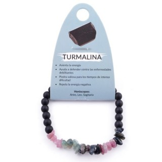 36305-03 ELASTIC TOURMALINE CHIP BRACELET WITH 6 MM RECONSTRUCTED SHUNGITE