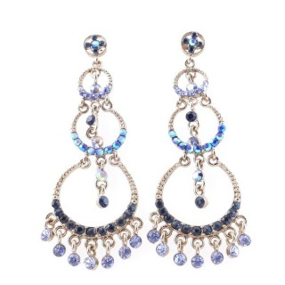 38196-04 METAL AND CZECH CRYSTAL 70 X 23 MM EARRINGS