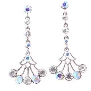 38198-05 METAL AND CZECH CRYSTAL 53 X 24 MM EARRINGS