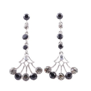 38198-06 METAL AND CZECH CRYSTAL 53 X 24 MM EARRINGS