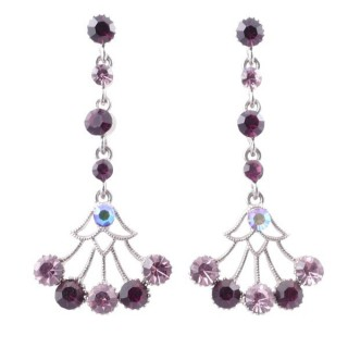 38198-07 METAL AND CZECH CRYSTAL 53 X 24 MM EARRINGS