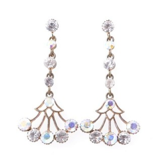 38198-12 METAL AND CZECH CRYSTAL 53 X 24 MM EARRINGS