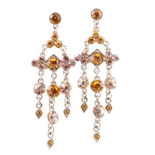 38201-01 METAL AND CZECH CRYSTAL 69 X 21 MM EARRINGS