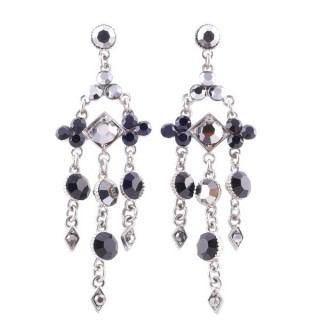 38201-02 METAL AND CZECH CRYSTAL 69 X 21 MM EARRINGS
