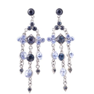 38201-04 METAL AND CZECH CRYSTAL 69 X 21 MM EARRINGS