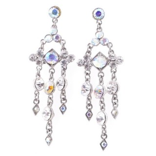 38201-06 METAL AND CZECH CRYSTAL 69 X 21 MM EARRINGS