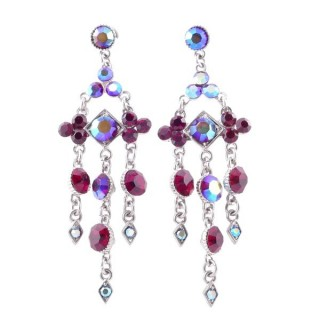 38201-07 METAL AND CZECH CRYSTAL 69 X 21 MM EARRINGS