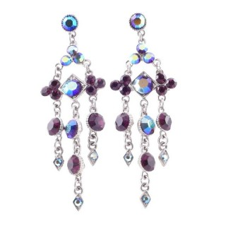 38201-08 METAL AND CZECH CRYSTAL 69 X 21 MM EARRINGS
