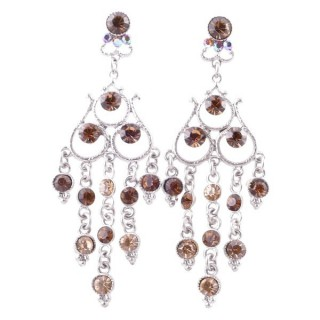 38202-06 METAL AND CZECH CRYSTAL 68 X 23 MM EARRINGS