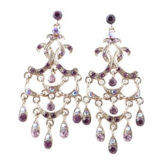 38203-01 METAL AND CZECH CRYSTAL 68 X 28 MM EARRINGS