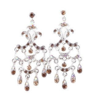 38203-02 METAL AND CZECH CRYSTAL 68 X 28 MM EARRINGS