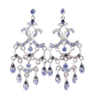 38203-03 METAL AND CZECH CRYSTAL 68 X 28 MM EARRINGS