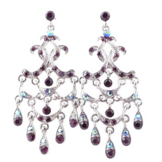 38203-04 METAL AND CZECH CRYSTAL 68 X 28 MM EARRINGS
