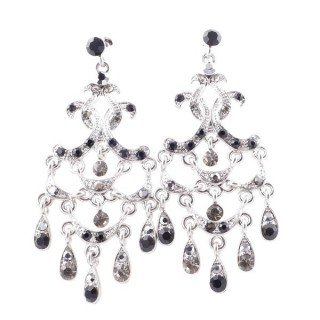 38203-05 METAL AND CZECH CRYSTAL 68 X 28 MM EARRINGS