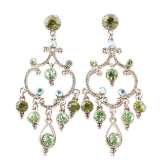 38204-01 METAL AND CZECH CRYSTAL 64 X 26 MM EARRINGS
