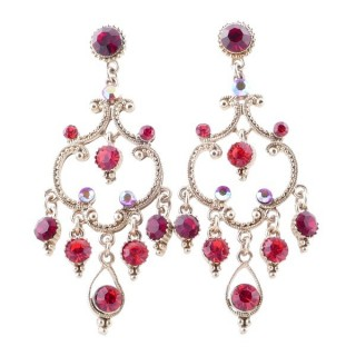 38204-02 METAL AND CZECH CRYSTAL 64 X 26 MM EARRINGS