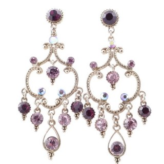 38204-05 METAL AND CZECH CRYSTAL 64 X 26 MM EARRINGS