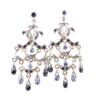 38205-03 METAL AND CZECH CRYSTAL 66 X 29 MM EARRINGS