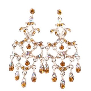 38205-04 METAL AND CZECH CRYSTAL 66 X 29 MM EARRINGS