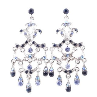 38205-05 METAL AND CZECH CRYSTAL 66 X 29 MM EARRINGS