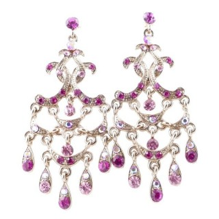 38205-06 METAL AND CZECH CRYSTAL 66 X 29 MM EARRINGS