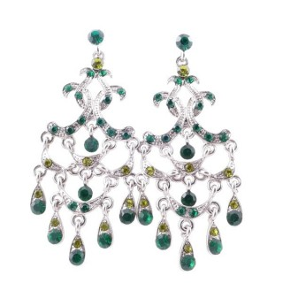 38205-07 METAL AND CZECH CRYSTAL 66 X 29 MM EARRINGS