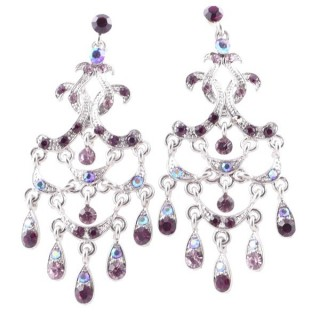 38205-08 METAL AND CZECH CRYSTAL 66 X 29 MM EARRINGS