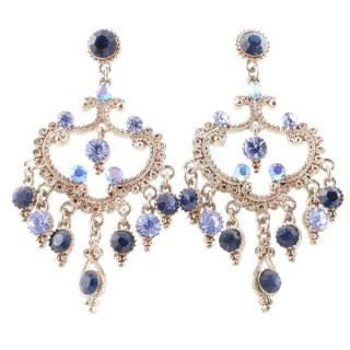 38206-01 METAL AND CZECH CRYSTAL 59 X 33 MM EARRINGS