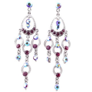 38210-03 METAL AND CZECH CRYSTAL 74 X 22 MM EARRINGS